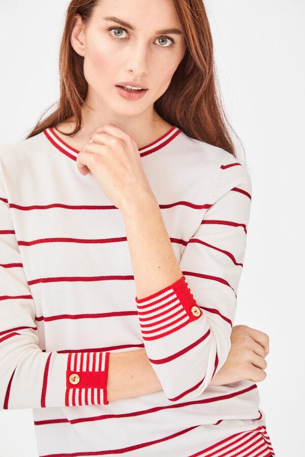 5f451eeacf938 Cortefiel Striped jumper with lurex Red