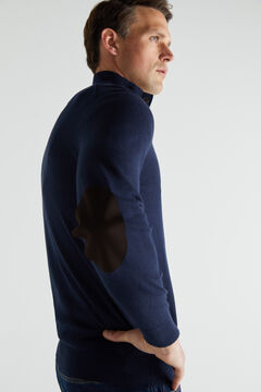 Cortefiel Cotton/cashmere trucker neck jumper Navy