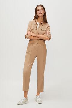 Cortefiel Slim fit Tencel trousers Brown