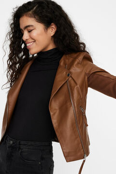 Cortefiel Faux leather jacket  Tobaco