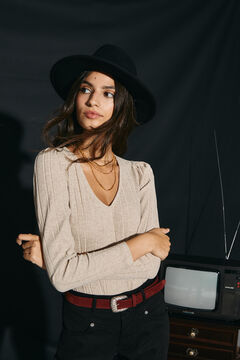 Cortefiel Textured jersey-knit top Ecru
