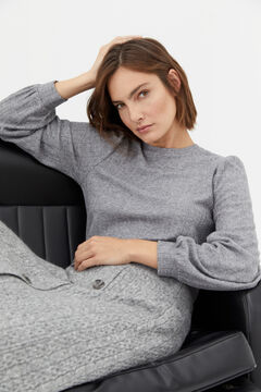 Cortefiel Cross-knit top Gray