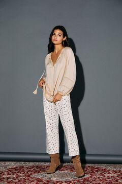 Cortefiel Striped textured blouse Vanilla