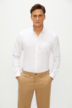 Cortefiel Camisa lisa slim coolmax eco-made stretch Blanco