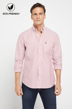 Cortefiel Organic cotton striped Oxford shirt Fuchsia
