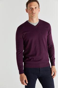 Cortefiel Cotton/cashmere V-neck jumper  Maroon