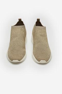 Cortefiel Ultralight sock trainers with stones Beige