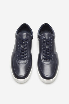 Cortefiel Leather rubber-soled sneakers Navy