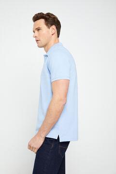Cortefiel Short-sleeved logo polo shirt Blue
