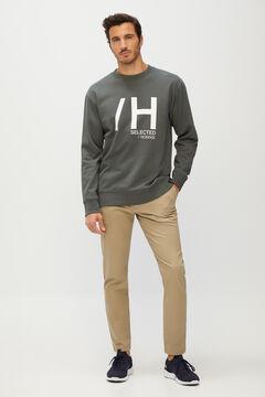Cortefiel Sweatshirt de homem logo Cinzento