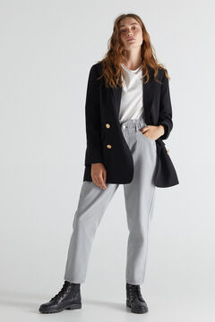 Cortefiel Elasticated waistband 'Mom' trousers Gray
