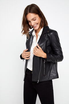 Cortefiel Leather biker jacket Black