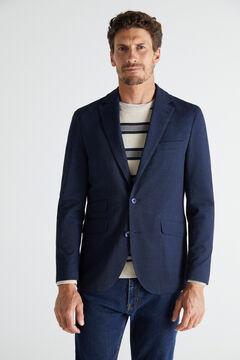 Cortefiel Lightweight jersey-knit blazer Turquoise