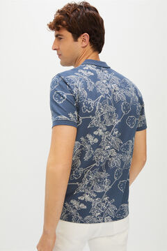 Cortefiel Short-sleeved logo polo shirt Royal blue