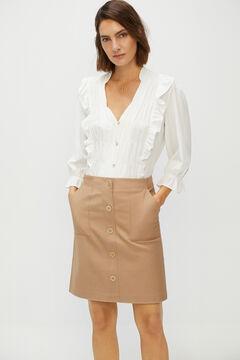 Cortefiel Short piqué skirt Stone
