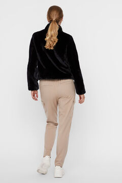Cortefiel Faux fur jacket with zip Black