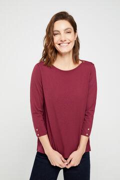 Cortefiel Essential organic cotton boat neck t-shirt Fuchsia