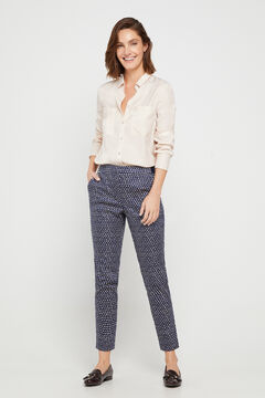 Cortefiel Trousers with elasticated back Beige