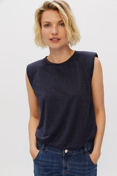 Cortefiel Lurex shoulder pads T-shirt Navy