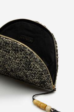 Cortefiel Half-moon raffia wallet Black