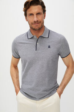 Cortefiel Oxford fabric short-sleeved polo shirt Navy