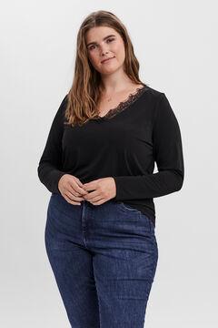 Cortefiel T-shirt renda Curve Preto