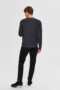 Cortefiel Organic cotton round neck jumper Dark gray