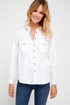 Cortefiel Printed comfort fit denim shirt White