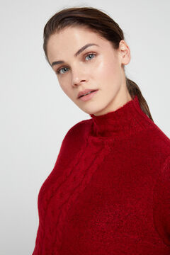 Cortefiel Long cable knit jumper Red garnet