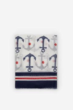 Cortefiel Anchor print fine scarf White