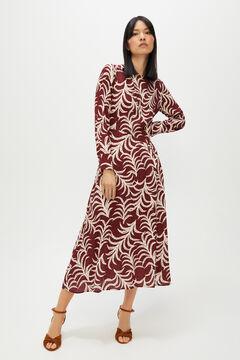 Cortefiel Long printed dress Beige