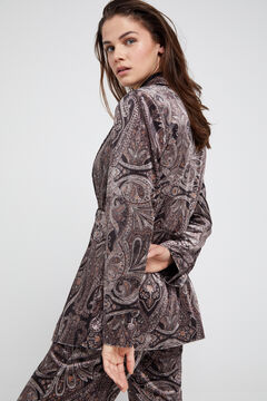 Cortefiel Printed velvet jacket Natural