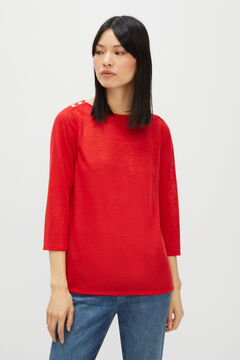 Cortefiel Engraved button T-shirt Red