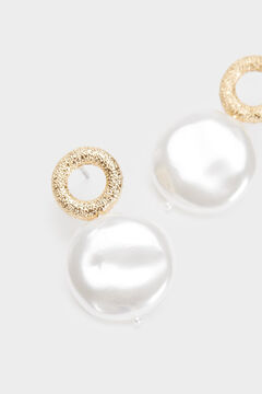 Cortefiel Short pearl earrings Beige