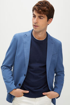 Cortefiel Washed cotton blazer Royal blue