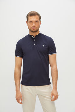 Cortefiel Short-sleeved polo shirt with mandarin collar Turquoise