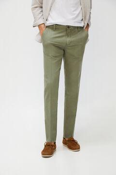 Cortefiel Slim fit linen trousers Dark gray