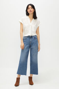 Cortefiel Cropped palazzo jeans Royal blue