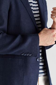 Cortefiel Washed linen blazer Navy