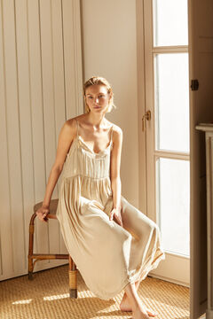 Cortefiel Long satin lingerie dress Stone