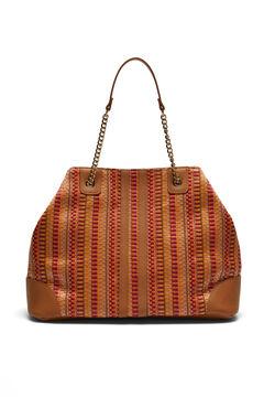 Cortefiel Raffia slouch handbag Natural