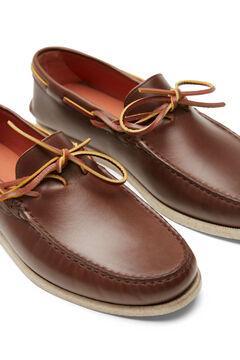 Cortefiel Rubber sole boat shoe Dark brown