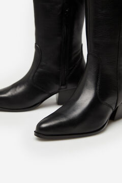 Cortefiel Nappa leather knee-length boot Black