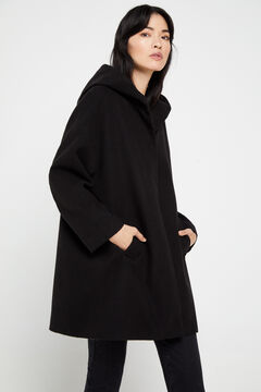 Cortefiel Hooded cape coat Black