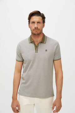 Cortefiel Oxford fabric short-sleeved polo shirt Kaki