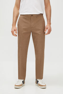 Cortefiel Textured Coolmax Ecomade® regular fit chinos Camel
