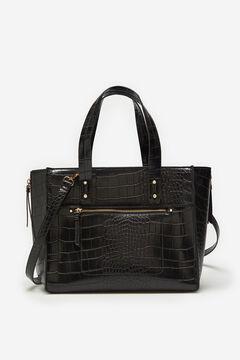 Cortefiel Crocodile shopper bag Black