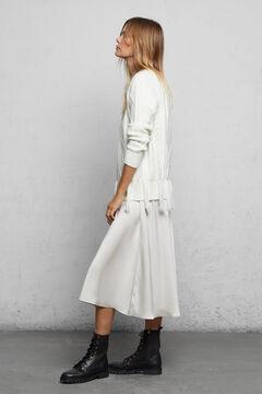 Cortefiel Satin box pleated skirt Ecru