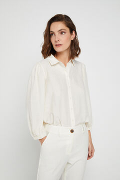 Cortefiel Metallic polka-dot shirt White