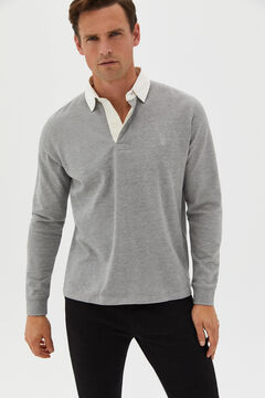 Cortefiel Plain long-sleeved polo rugby shirt Gray
